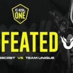 แพ้สะแล้ว!! Team Secret ถูกจัดการโดย TEAM UNIQUE 2-0 ESL One Brimingham